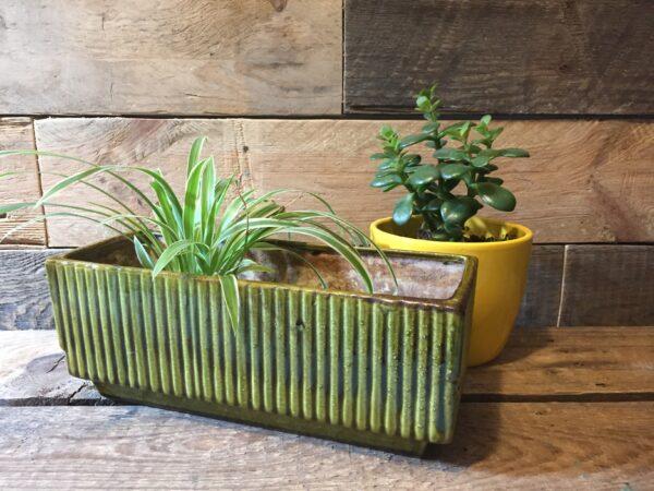 west-germany pottery bloembak vintage groen glazuur