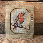 roodborstje borduurpatroon handwerk www.queensbrocanteboutique.nl brocante vintage webshop brocantewebshop vintagewebshop